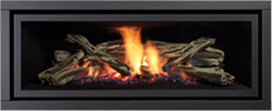 Black Fascia with Driftwood Logs Greenfire GF1500L NZ Indoor Gas Fireplace