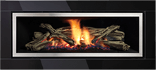 Black Glass Fascia With Stainless Steel Inner Trim Greenfire GF1500L NZ Indoor Gas Fireplace