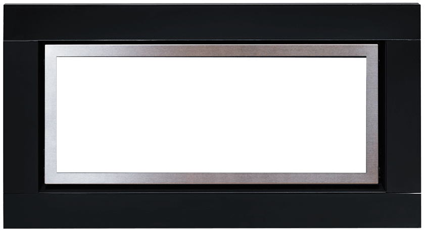Black Glass Fascia With Stainless Steel Inner Trim For Regency Gas Fires Sold In NZ