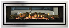 Stainless Steel Fascia with Driftwood Logs | Greenfire GF1500LST NZ Indoor Gas Fireplace