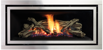 Stainless Steel Fascia Greenfire GF950L NZ Indoor Gas Fireplace