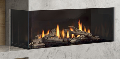 City Series Chicago Left Hand Gas Fireplace with Log Set