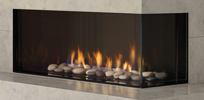 City Series Chicago Right Hand Gas Fireplace with Volcanic Stones